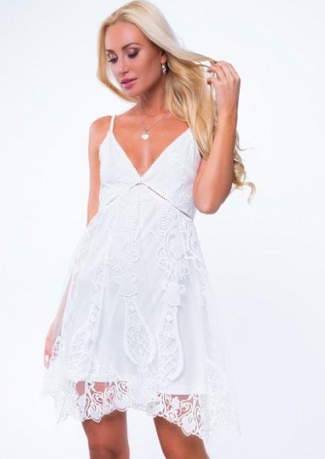 sukienka koronkowa z tiulem