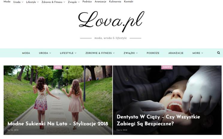 wygląd strony bloga Lova